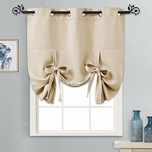 PONY DANCE Window Valance for Kitchen - Tie Up Curtain Roman Shade Grommet Door Curtain Drapery for Home Decoration Adjustable Balloon Valance, 1 Piece, W 46 x L 63 in, Biscotti Beige