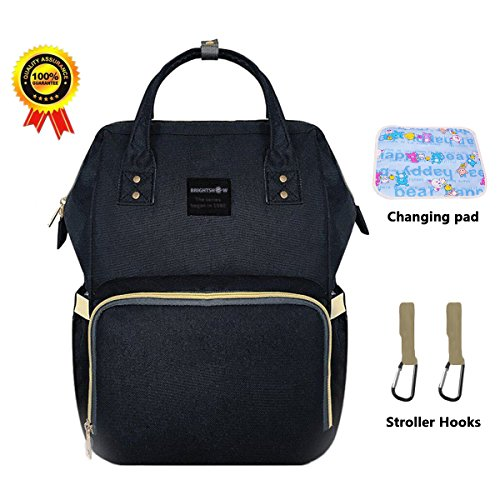 BRIGHTSHOW Diaper Bag Backpack Multi-Function Waterproof Travel Backpacks Organizer Bags for Baby Care, Large Capacity, Stylish and Durable with Changing pad/Stroller Hooks (Black+Changing Pad)