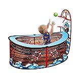 Fancylande Kinder Bällebad mit Basketballkorb - Pop Up Piratenschiff Pool Spielzelt Spielhaus für...