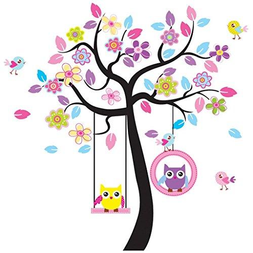 Rainbow Unicorn Charmant Art coloré Stickers arbre avec pendaison hibou Stickers muraux, décoration murale bricolage, murales de hibou rose Wall Sticker, hibou papier peint