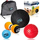 Deep Tissue Massage Ball Set - Includes 5' Foam Roller Mobility...