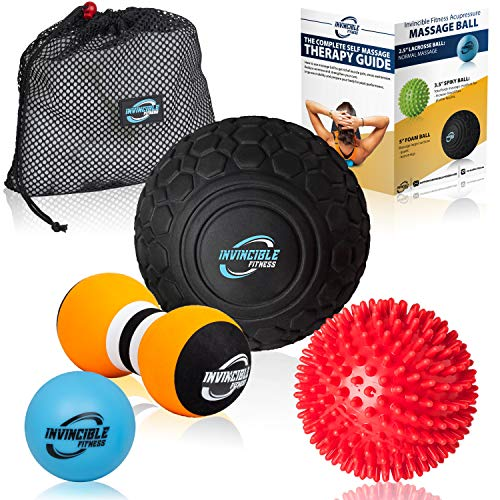 Top 4 Massage Balls Set,Spiky, Lacrosse ball, Peanut Muscle Roller Massager. Ideal for Self Myofascial Trigger Point Release, Acupressure, Plantar Fasciitis, Reflexology for Physio, Back, Legs & Feet