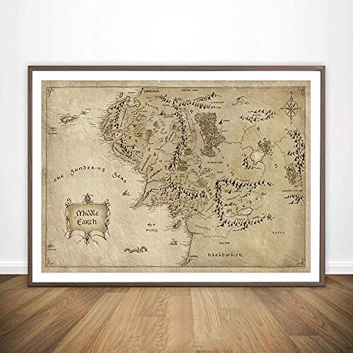 CHBOEN Mode Peinture Toile Carte De La Terre Du Milieu...