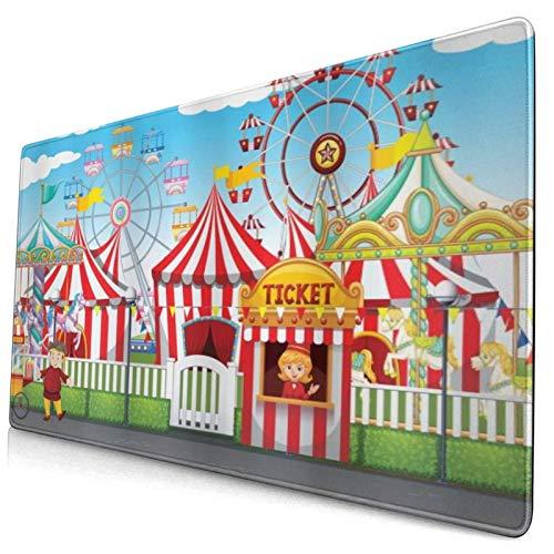 ELIENONO Alfombrilla Raton,Carnaval de Circo con Muchas Atracciones y Tiendas,Paisaje de ilustración y Vista de Cielo Nublado,Alfombrilla Gaming Alfombrilla para computadora,750×400×3mm