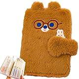 Diario de peluche para niñas, diario de oso marrón, colorido en el interior, lindo cuaderno de oso para niños y adultos, cuaderno de peluche con forro de 176 páginas para escribir y dibujar regalos