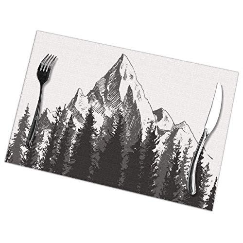 Set de Table Napperons faits à la main montagne primitive avec sapins forestiers et Native American Arrow Figure Folk Style rétro thème impression Dimgrey Table Mat 30X40CM