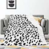 Dalmatian Print Flannel Throw Blankets, Anti-Pilling Lightweight Cozy Blanket for Couch Sofa Bed,Decorative Plush Blanket All Season(60'x50')