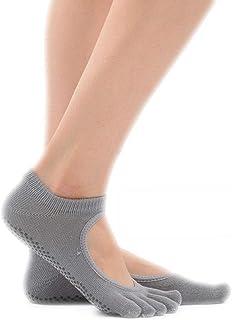 Calcetines de yoga Antideslizantes Mujeres Sin Respaldo Cinco Dedos Cuatro Estaciones Deportes for Principiantes absorbentes de Sudor (Color : Gray)