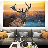 ganlanshu Animal Salvaje Reno Lienzo Pintura Pared Arte Sala sofá Cartel decoración del hogar,Pintura sin Marco,70X105cm