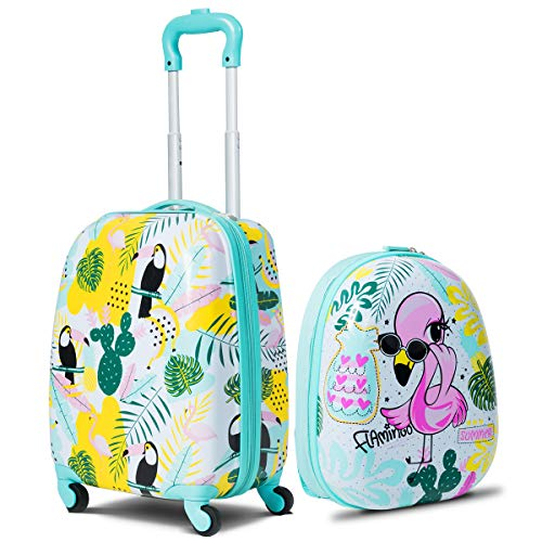 GYMAX Kids Carry On Luggage Set, 12' & 16' 2PCS Kids Suitcase with Adjustable Trolley Rod Height & Backpack Shoulder Strap for Boys and Girls, Gift for Toddlers Children (Flamingos)
