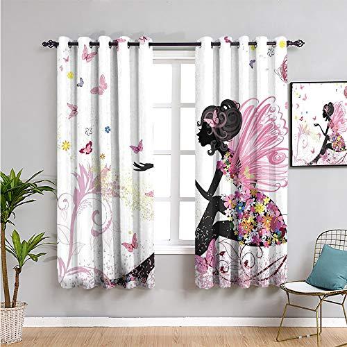 Pcglvie Cortinas opacas para niñas, cortinas de 183 cm de largo con alas en un vestido floral, fantasía, jardín, mariposas voladoras, mantener un buen sueño, multicolor (72 x 72 pulgadas)