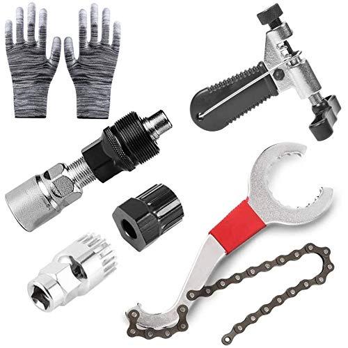 Sunshine smile Fahrrad Reparatur Werkzeug,Demontage Werkzeug Fahrrad,Fahrrad Reparatur Set,Fahrrad Kassette Removal Tool,Bike Tool Set,Kettenpeitsche,Kurbelabzieher,Ketten Werkzeug