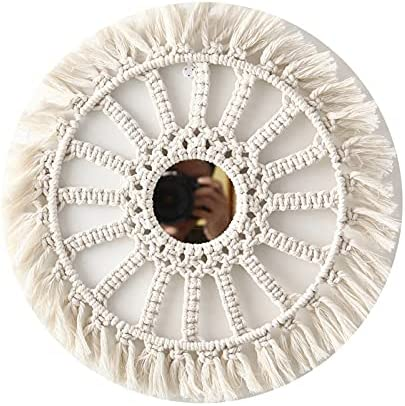 xunyang Cheap bargain Hanging Wall Max 86% OFF Mirror with Macrame Mirrors Ar Fringe Round
