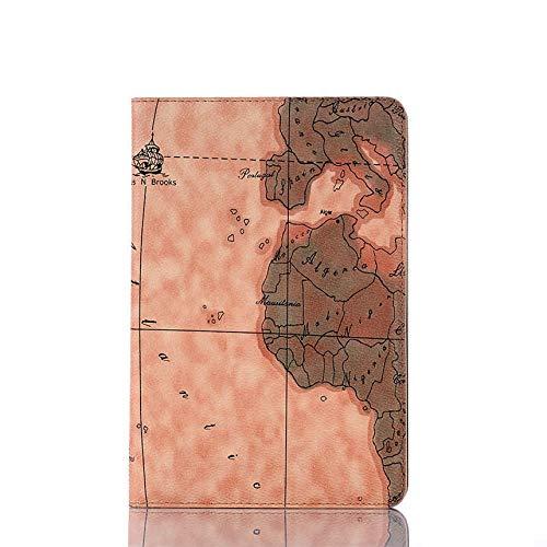 QiuKui Tab Funda para iPad 2 3 4, Nuevo Caso de impresión Mapa A1430 A1458 Ranura de la Tarjeta PU de Cuero PU de Cuero para iPad 2 iPad 3 iPad 4 A1416 (Color : 1)