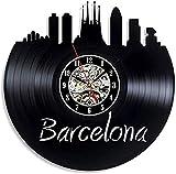 Reloj de pared de vinilo de Barcelona, sala de estar decorada para niños o niñas, habitación de horizonte para hombres y mujeres, decoración única de la ciudad, decoración de arte, viaje, ci