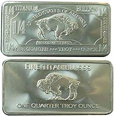 Metal Art Collection - 1/4 oz Quarter Troy Ounce USA American Buffalo .999 Fine Titanium Bullion Bar Ti Element