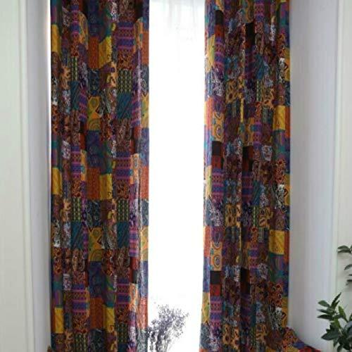 YAHLSEN Böhmische Retro- ethnische Art Wohnzimmer Study Baumwolle und Leinen Halb Blackout Vorhang, Spezifikation: 140 × 215 Haken (Patch Vorhang) Q (Color : Patch Curtain)