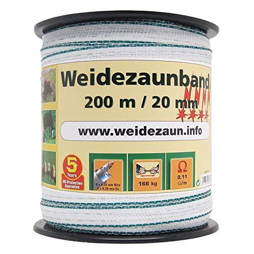 Hochwertig Weidezaun Band 200m, 20mm, 2x0,3 Kupfer + 4x0,3 Niro, weiß-grün 4