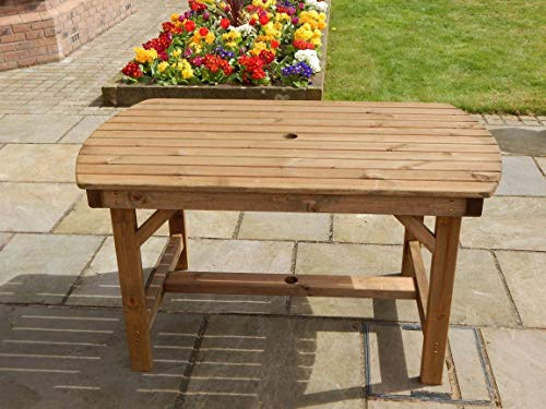 STAFFORDSHIRE GARDEN FURNITURE   WOODEN GARDEN TABLE   4FT 6 INCH   DELIVERED FULLY ASSEMBLED FURNITURE   FITS UP TO SIX PEOPLE