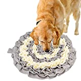 Routesun Snuffle Mat for Dogs Cats - Wooly Feeding Mat Pet, Encourages Natural Foraging Skills for Small Large Dogs Slow Feeder Puzzle Toy, Easy to Fill, Durable and Machine Washable (Gray)