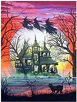 大人のためのDIY油絵キットキャンバス絵画番号でペイント家の装飾壁最高の贈り物秋の木の幹と黒猫-40cmx50cm