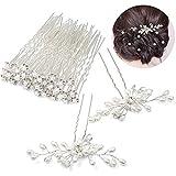 Czemo 42 pezzi Forcine per Capelli Perle Sposa Forcine Fermagli per Capelli con Strass Cristalli Perni di Capelli Nuziali