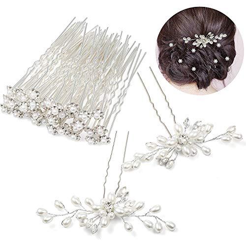 Czemo 42 Stück Perlen Haarnadeln Silber Haarschmuck Strass Blumen Kristall Haar Stifte Clips Hochzeit Haarschmuck