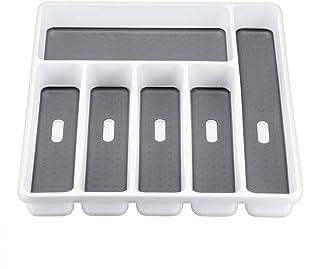 SHYPT 6 Compartiments Couverts Plateau de Cuisine Tiroir Organisateur cuillère Couteau Fourchette Séparation Plastique Boî...