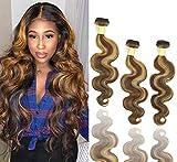 Sakula Ombre Body Wave 2 Tone Virgin Remy Human Hair Bundles with Brazilian Body Wave Hair 3 Bundles 18 20 22 Inch(#P4/30 Color)