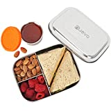 Stainless Steel Lunch Box for Kids with Leakproof Dips Condiment Container (3.3oz) , 3 Compartment...
