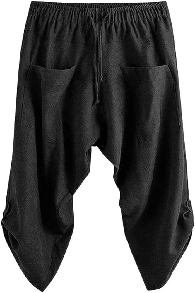 Gafeng Herren Yoga Caprihose Casual Baggy Elastische Taille Kordelzug Gym Sport Baumwolle Shorts 3//4 Hose mit Taschen