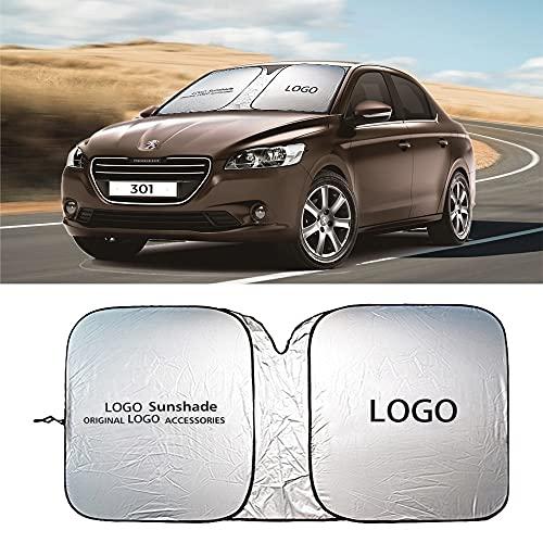 NXCY01 Accesorios para automóviles para Peugeot Emblem Coche Sombrero Sol Sun Visor Cover Protect Logo Auto Front Window Refrigeración Parasol Nuevo Parasoles de Parabrisas (Color : For Peugeot Logo)