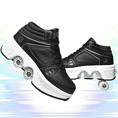 YUNWANG Deformación Multiusos Patines De Ruedas Doble Rodillo Zapatos De Skate Zapatillas para Deportes Al Aire Libre Patinaje De Viaje Transpirables Y Cómodos