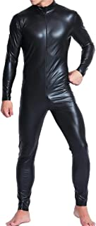 Mens Full Body Leotard Long Sleeves Unitard Faux Leather Bodysuit