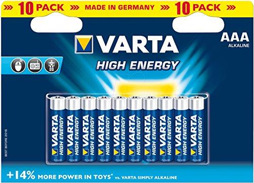 Varta 4103 - Pack de 10 Pilas alcalinas AAA, Color Azul