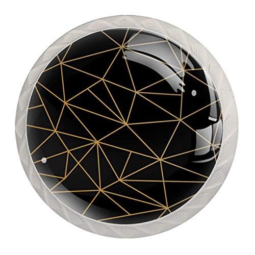 4 pomos de cajón de cristal con tornillos para armario de o
