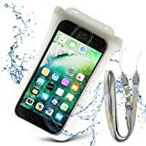 DiCAPac Universal Waterproof Case IPX8 Certified, Floating Phone Dry Pouch, Fingerprints Touch ID for iPhone 7 7Plus Galaxy and Other Smartphones up to 6.3 x 3.3 Inches with Clip (White)
