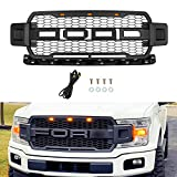 SEVENS Front Grill for F150 2018 2019 2020, Including XL, XLT, LARIAT, King Ranch, Platinum and Limited,Raptor Style Grille for Ford, Matte Black