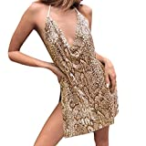 Bibao Damen Babydoll-Kleid mit Schlangenmuster, figurbetonter Gurt, Mini-Schlitz, Tier-Print,...