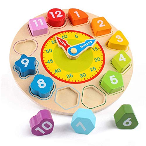 SGVV90 Wooden Shape Color Sorting Clock- Teaching Time Clock Shape Patterns Sorting Puzzle Montessori Early Learning Educational Toy Gift for Toddler Baby Kids