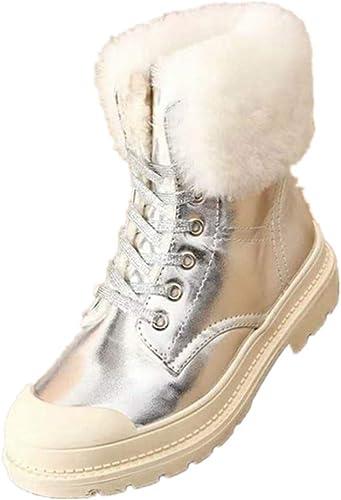 VCAFDAF Schneestiefel Winter Damen Plus Samt Hohe Hilfe Baumwollschuhe Wasserdicht Rutschfest Schneestiefel In The Tube Stiefelies