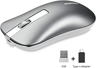 TENMOS T5 Slim Wireless Mouse, 2.4G Silent Travel Mouse with USB Receiver Type-C Adapter, Rechargeable Wireless Computer Mice for Laptop/PC/Mac (Grey)