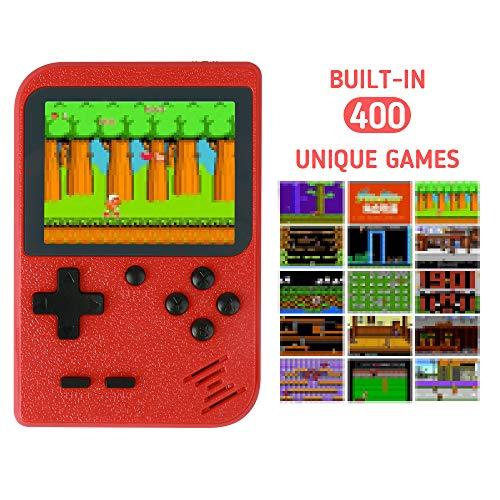 Handheld Spielkonsole, Retro Mini Handkonsole NES FC Spiele Konsole Videospielkonsole 400 Games mit LCD Bildschirm & TV Anschluss Unterstützung der TV-Ausgabe Geschenk zum Geburtstag Weihnachten