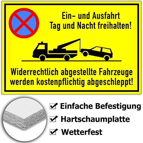 KAVARO Einfahrt freihalten Schilder Ausfahrt freihalten Schild Privatparkplatz (30x20cm)
