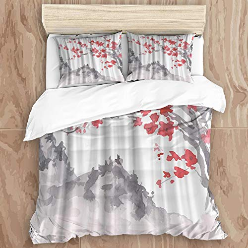 YCHY8 Duvet Cover Set,Black and White Japanese Traditional Ink Painting Style Mountain Plum Flowers,Decorative 3 Piece Bedding Set with 2 Pillow Shams, Queen Size
