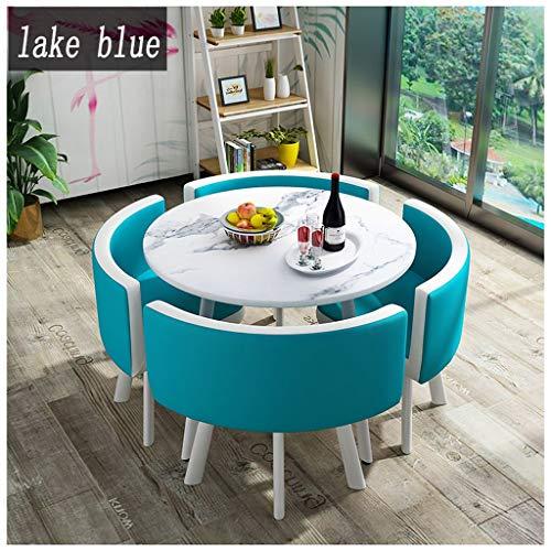 Gaohh Konferenztisch und Stuhl Set Hotel-Empfangsraum des Basketballplatz Unterhaltung Freizeitspiel Tea Shop Café Dessert-Shop Bekleidungsgeschäft Round Table 1 Tabelle 4 Stühle Leder Blau Rot