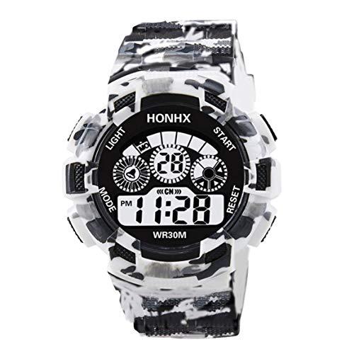 Funnyrunstore HONHX Electronic Men Watch LED Digital Fecha Semana Alarma Impermeable Reloj de Choque Militar Moda Deportes Reloj Reloj