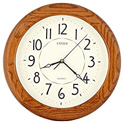 ISHIWA 14-inch Finest Round Oak Solid Wood Quality Quartz Wall Clock, Home Decor (WW0400 Natural Oak)