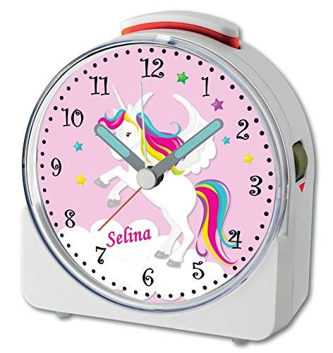 CreaDesign, WU-71-1034-02, Einhorn Rosa, analog Kinderwecker weiß, Funkwecker mit Sweep-Uhrwerk und fluoreszierenden Zeiger und Licht, personlisiert mit Namen, 10,2 x 4,6 x 11 cm