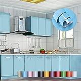 Liveinu - Papel pintado autoadhesivo de color liso para armario de cocina de PVC, impermeable, para pared, para decoración de dormitorio, salón o muebles, azul, ISA-GXSM-1182-7-10